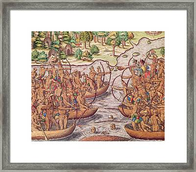 Battle Between Indian Tribes Framed Print by Jacques Le Moyne