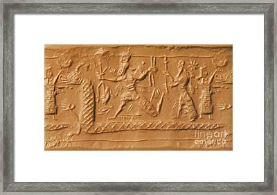 Battle Between Marduk And Tiamat Framed Print