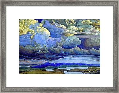 Battle In The Heavens Framed Print by Nicholas Roerich