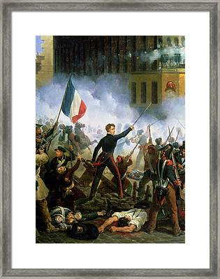 Battle In The Rue De Rohan, 28th July 1830, 1831 Oil On Canvas Detail Of 156577 Framed Print