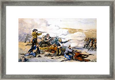 Battle Of Beechers Island Framed Print by Frederic Remington