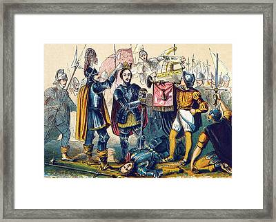 Battle Of Bosworth, Henry Vii Crowning Framed Print by British Library