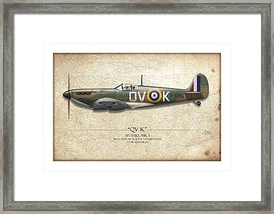 Battle Of Britain Qvk Spitfire - Map Background Framed Print by Craig Tinder