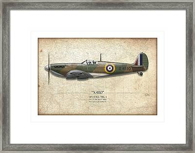 Battle Of Britain Spitfire X4110 - Map Background Framed Print by Craig Tinder