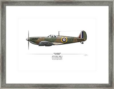 Battle Of Britain Spitfire X4110 - White Background Framed Print by Craig Tinder