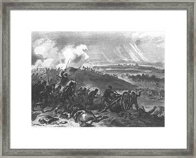 Battle Of Gettysburg - Final Charge Of The Union Forces At Cemetery Hill, 1863 Pub. 1865 Engraving Framed Print by American School
