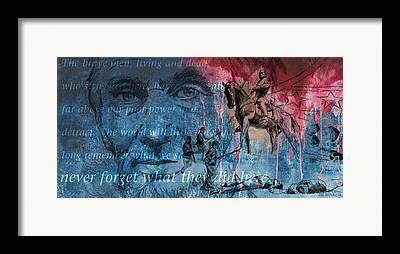 Statue Of Confederate Soldier Mixed Media Framed Prints