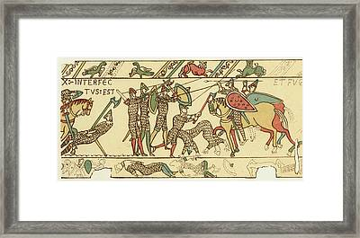 Battle Of Hastings The Battle Rages Framed Print by Mary Evans Picture Library