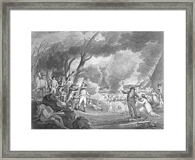 Battle Of Lexington, April 19th 1775, Engraved By Cornelius Tiebout C.1773-1832 Engraving B&w Photo Framed Print by Elkanah Tisdale