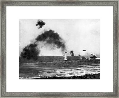 Battle Of Midway Framed Print by Underwood Archives