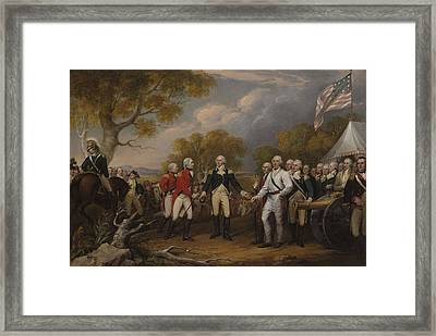 Battle Of Saratoga, The British General John Burgoyne Surrendering Framed Print by John Trumbull