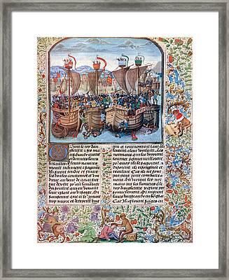 Battle Of Sluys, 1340 Framed Print