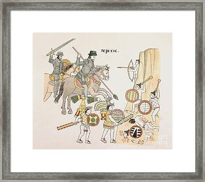 Battle Of Tepexic, Lienzo De Tlaxcala Framed Print