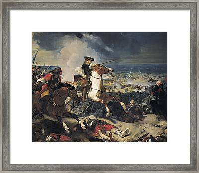 Battle Of The Dunes, 14th June 1658, 1837 Oil On Canvas Framed Print by Charles-Philippe Lariviere