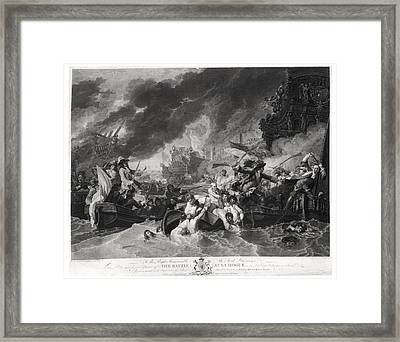 Battle Of The Hague, 29th May 1692, Engraved By William Woollett 1735-85 1781 Aquatint Bw Photo Framed Print by Benjamin West