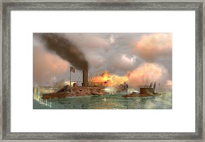 Battle Of The Ironclads Framed Print by Walter Colvin