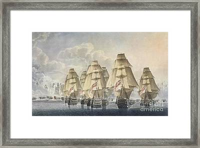 Battle Of Trafalgar Framed Print by Robert Dodd
