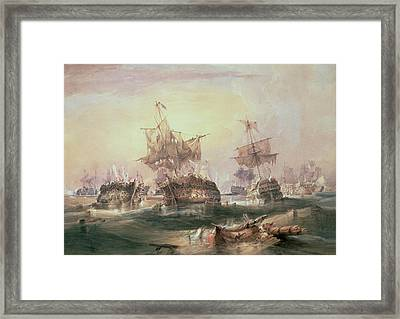Battle Of Trafalgar Framed Print by William John Huggins