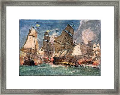 Battle Of Virginia Capes Framed Print by Granger
