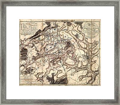 Battle Of Waterloo Old Map Framed Print
