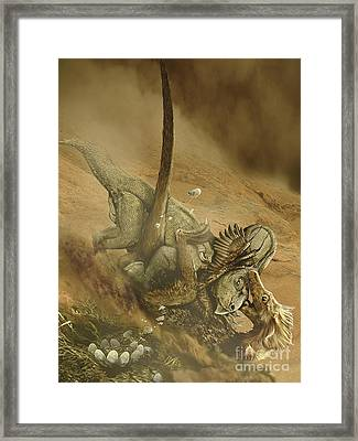 Battle Scene Between A Velociraptor Framed Print by Jan Sovak