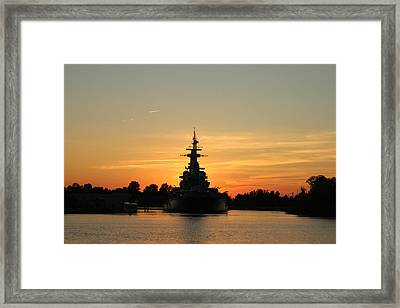 Framed Print featuring the photograph Battleship At Sunset by Cynthia Guinn