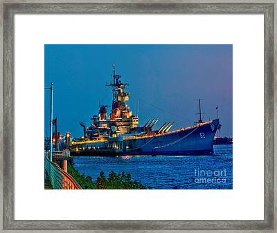 Battleship New Jersey At Night Framed Print