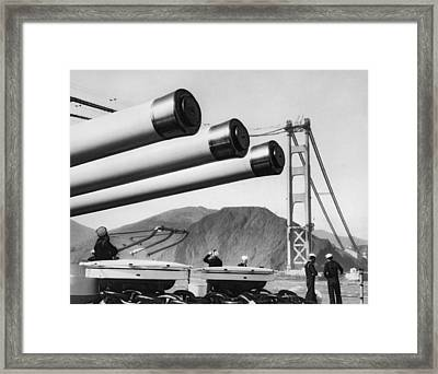 Battleship Under Gg Bridge Framed Print by Underwood Archives