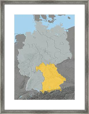 Bavaria, Germany, Relief Map Framed Print