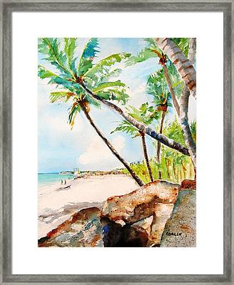 Bavaro Tropical Sandy Beach Framed Print by Carlin Blahnik