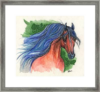Bay Arabian Horse With Blue Mane 30 10 2013 Framed Print by Angel  Tarantella
