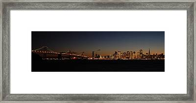 Bay Bridge And City Skyline Framed Print
