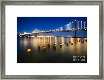 Bay Bridge At Night Framed Print by George Oze
