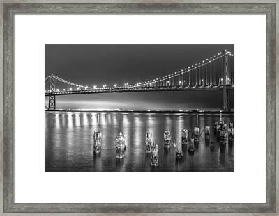 Bay Bridge Black And White Framed Print