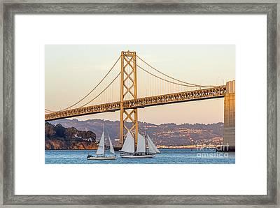 Bay Bridge Gold Framed Print by Kate Brown