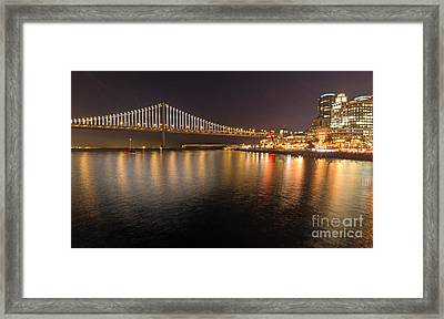 Bay Bridge Lights And City Framed Print