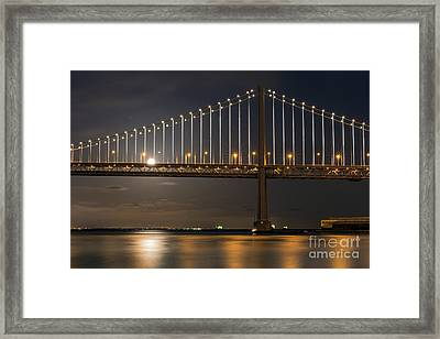 Bay Bridge Moon Rising Framed Print