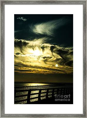Framed Print featuring the photograph Bay Bridge Sunset by Angela DeFrias