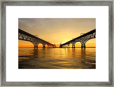 Bay Bridge Sunset Framed Print