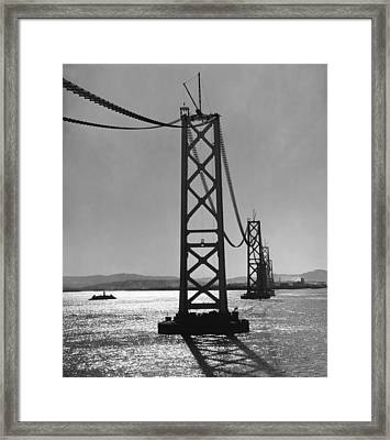 Bay Bridge Under Construction Framed Print by Ray Hassman
