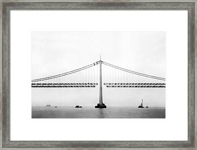 Bay Bridge Under Construction Framed Print by Underwood Archives