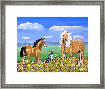 Bay Colt Golden Palomino And Pal Framed Print by Phyllis Kaltenbach
