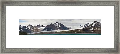 Bay In Front Of Snow Covered Mountains Framed Print by Panoramic Images