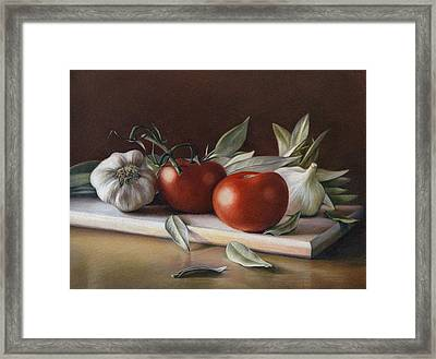 Bay Leafs And Tomatoes Framed Print