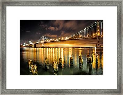Bay Lights And Decaying Pylons Framed Print