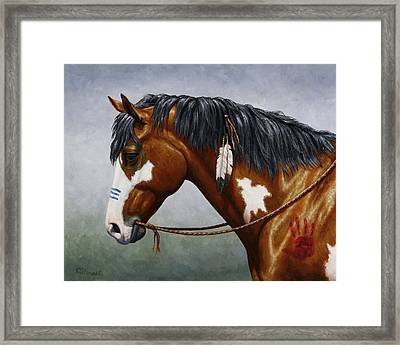 Bay Native American War Horse Framed Print by Crista Forest