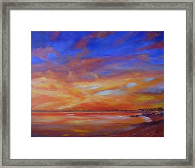 Bay Of Hythe On Fire Framed Print