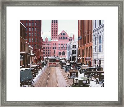 Bay Street Christmas Eve 1924 Framed Print by Kenneth M  Kirsch