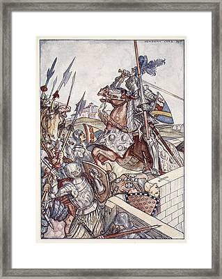 Bayard Defends The Bridge, Illustration Framed Print by Herbert Cole