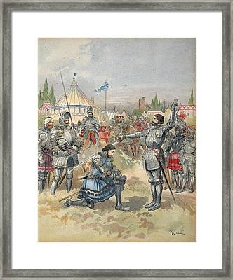 Bayard Knighting Francis I Framed Print by Albert Robida